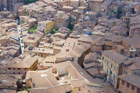 Tiled roofs of the medieval town photo