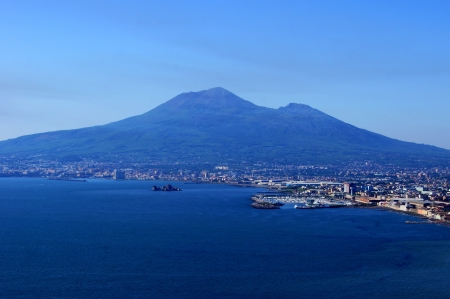 View of Vesuvius and Neapolitan gulf from a height of Sorrentine Peninsula Stock Photo