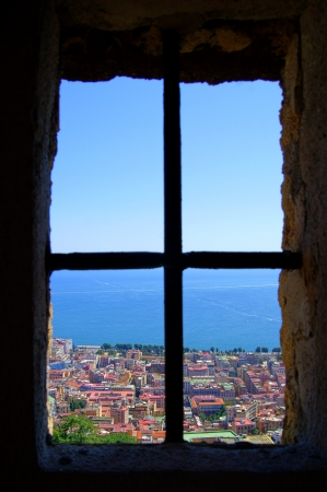 View of Naples from the window of the castle of San Elmo Stock Photo