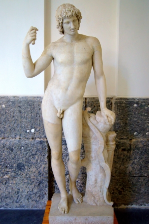 naked statue: Marble statue of the god Apollo Editorial