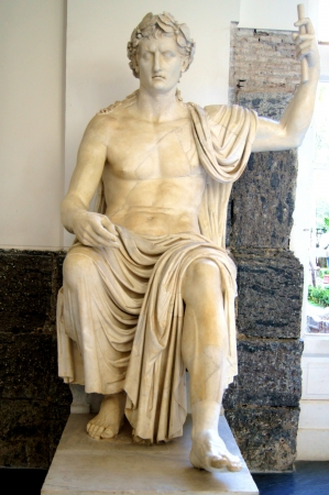 Marble antique statue of the first Roman Emperor Octavian Augustus in the historical museum of the city of Naples