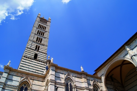 View of the cathedral and the bell tower in the Italian city of Siena Stock Photo - 15009889