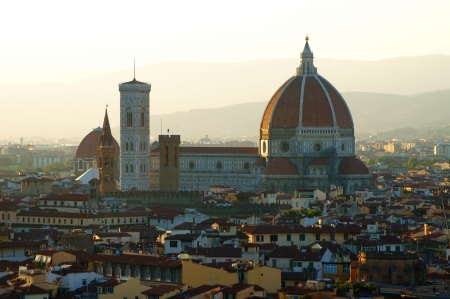 View of Florence Cathedral from above in the evening photo