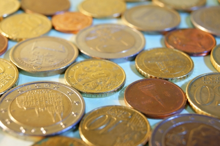 takings: Coins of different denominations - the euro and euro cents
