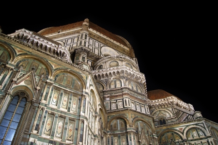 Marble Florence Cathedral in night light