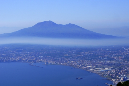 View of Mount Vesuvius and Naples suburb