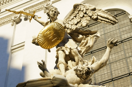 Archangel Casts a golden sword and a golden shield (Vienna) Editorial