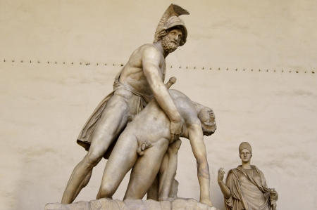 Two marble warriors in the main square in florence photo