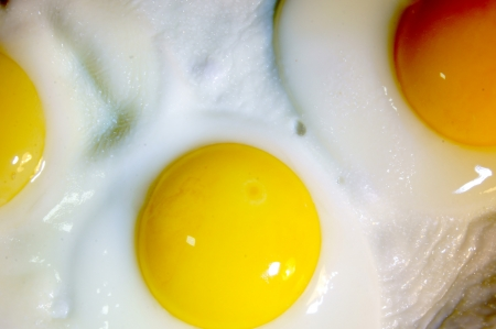 sunnyside: Fried eggs of three eggs Stock Photo