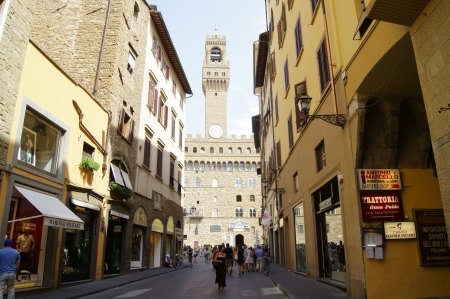 Florentine street with the tower in the background
