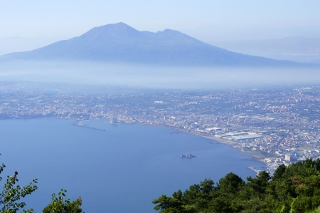 View of Vesuvius from Sorrento Peninsula Stock Photo