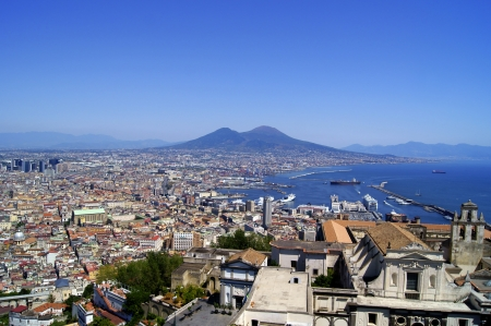 Top view of Vesuvius and the capital of Campania Stock Photo