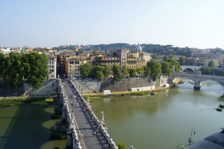 View of the bridge Elia across the Tiber from The Castel Sant'Angelo in Rome Stock Photo - 16028304