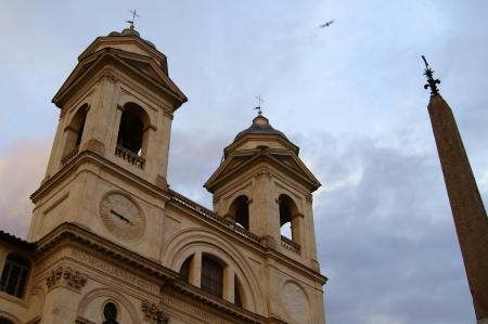 Church on the hill above the Plaza de Espana in Rome photo