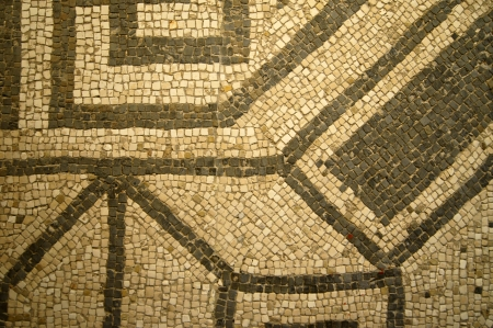 traditonal: Mosaic of ancient Pompeii of white and black tiles