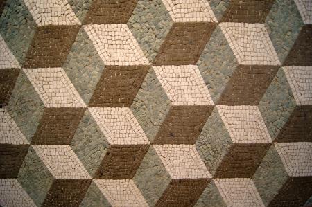 marmol: Ancient mosaico de azulejos de color negro, blanco y verde Foto de archivo