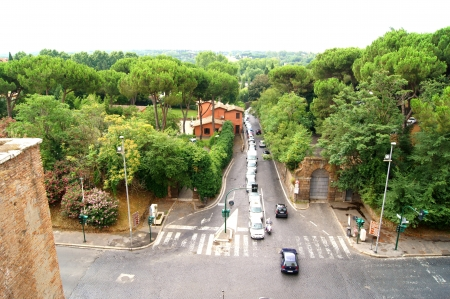 A view of the outskirts of Rome near the old Apiy road from a height of city walls photo