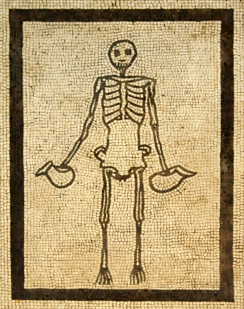 food fight: Mosaic image of the skeleton, as a form of death  from ancient Pompeii, Naples Museum  Stock Photo
