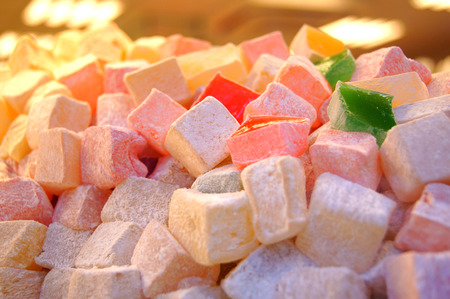 Placer of colorful Turkish Delight on a showcase of Istanbul confectioner photo