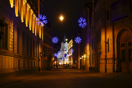Festive evening before Christmas in the historic part of Riga photo