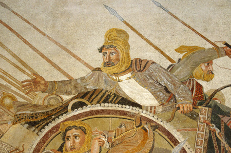 alexander great: Mosaic image of the Persian King Darius during his battle with Alexander the Great (Historical Museum of Naples, Italy)