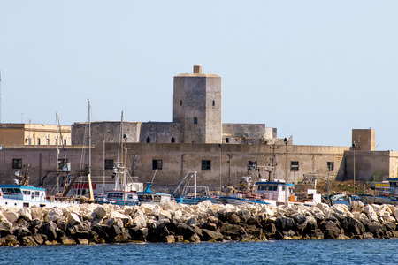 golfo: Old castle on the waterfront in Trapani, Sicily, Italy Stock Photo