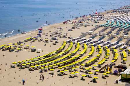romagna: Top view on a sandy beach in Rimini, Italy Stock Photo