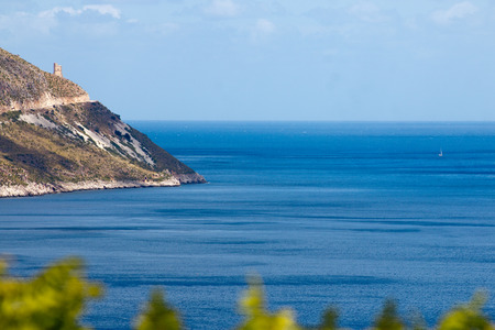 Seascape: sea view from the high bank in Sicily Stock Photo