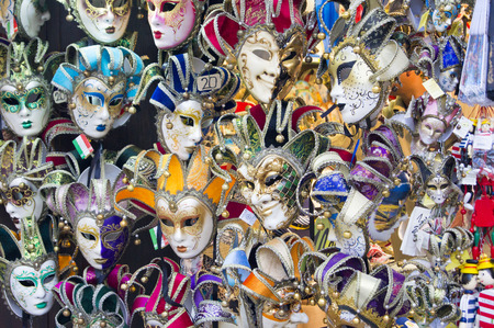 mummery: Showcase with colorful souvenir masks in Venice Stock Photo
