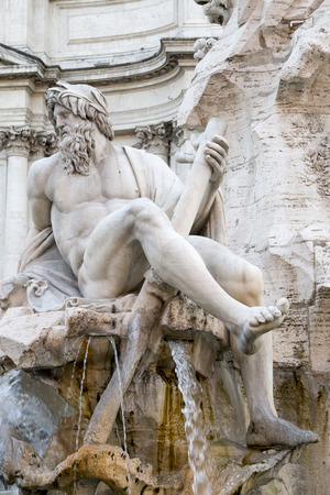 Roman fountain depicting athletic bearded ancient god