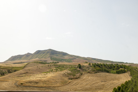 Landscape of agricultural fields of the central part of Sicily
