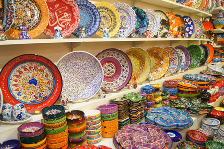 Souvenirs on display in the Grand Bazaar in Istanbul