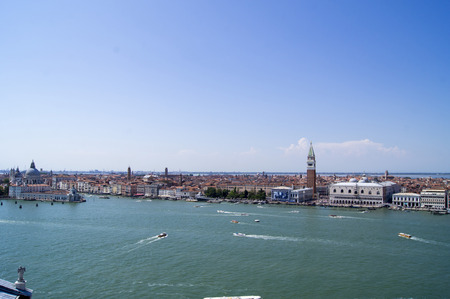 Top view (from the bell tower of the monastery of St. George) to Venice (Giudecca Canal and Santa Maria della Soluta)