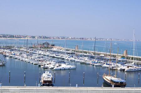 Yacht in the port city of Rimini in Italy