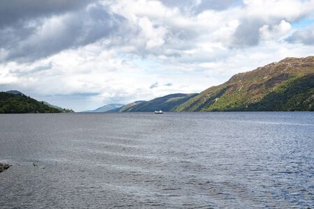 Scotland Highland Lake (Loch Ness) on a summer sunny day