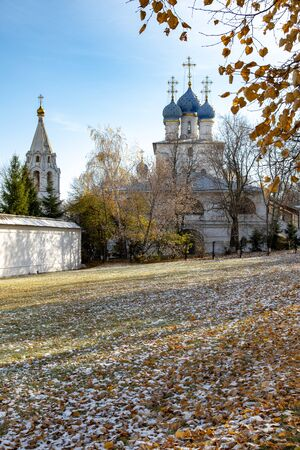 Orthodox churches and park in late autumn sunny day Stock Photo