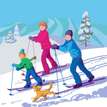 father, mother and son are skiing in the mountains photo