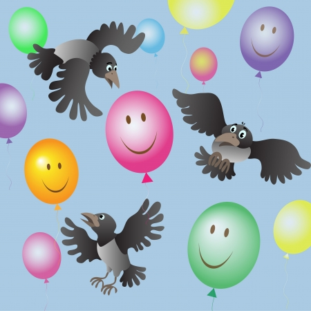 flying crows were frightened of colored balloons Vector