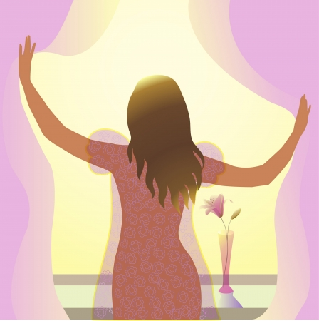 young woman stands near the window in the morning in the rays of the sun Ilustracja