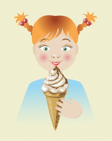 red haired girl: Red-haired  Girl takes tasty ice cream