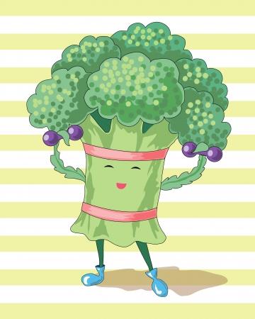 characterize: br�coli y pesas caracterizan el estilo de vida saludable Vectores