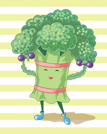 bicep curls: broccoli and dumbbells characterize the  healthy lifestyle