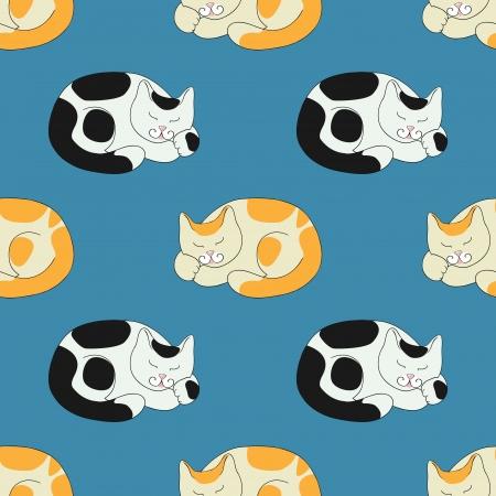 Nahtlose Textur mit Schlaf roten Katzen und schwarz-weiße Katzen
