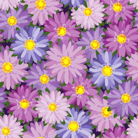 aster: Seamless texture with autumn flowers
