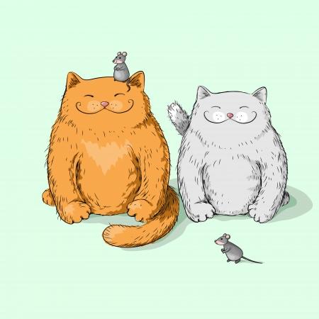 poner atencion: Dos gatos completos no prestan atenci�n a los ratones