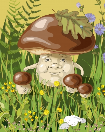 mushroom family on the grass Vector