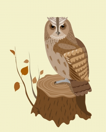owl is sitting on the stump Vector