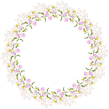 Floral wreath of wildflowers on white background  Illustration