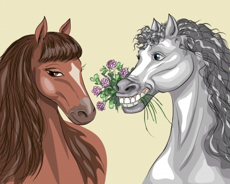 horse like: Grey and brown horses with a bouquet of clover  Illustration