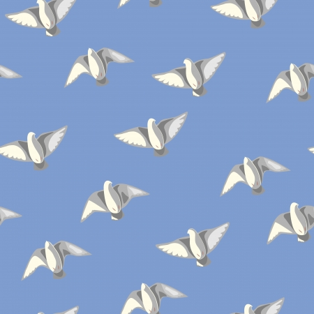 Seamless texture with flying pigeons in the blue sky Vector